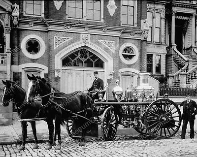Horse Drawn Fire Engine 1890s 8x10 Reprint Of Old Photo