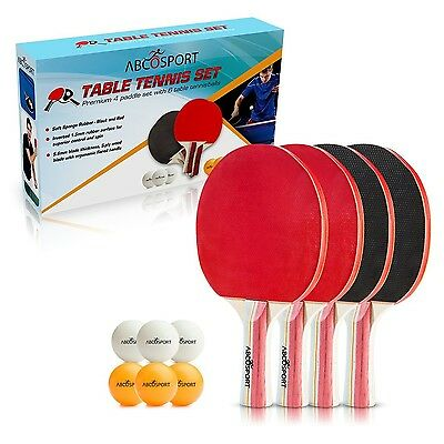 Table Tennis Set - Pack of 4 Premium Paddles/Rackets and 6 Table Tennis Balls...