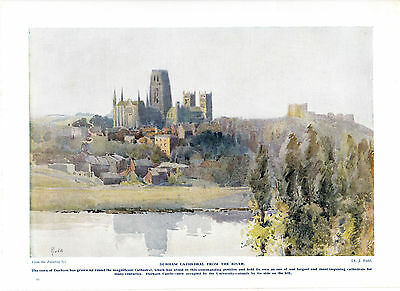 Durham Cathedral from the river. Scarce print circa 1920s