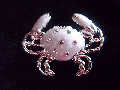 Beautiful silver tone, enamelled and jewelled crab brooch