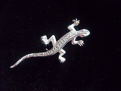 Lovely silver tone and marcasite lizard brooch