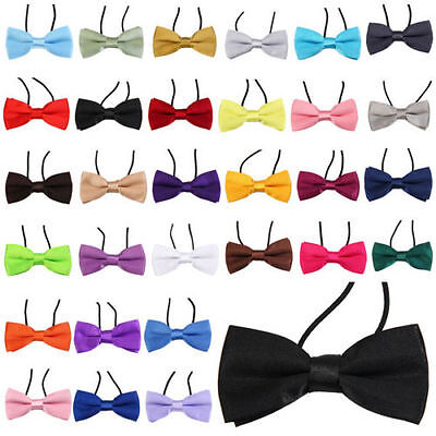 Boys Kids Elasticated Pre Tied Satin Bow Ties Tuxedo Party Wedding occasions