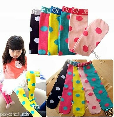 5 Colors Cute Dots Baby Kids Children Girls Princess Long Socks Leggings