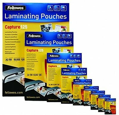 Fellowes Capture 60x90mm 125 Micron Glossy Laminating Pouches (Pack of 100) NEW