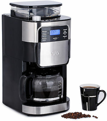 ViVo 1.5L Bean to Cup Digital Filter Coffee Maker Machine Integrated Grinder New