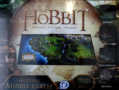 THE HOBBIT 4D Puzzle of Middle Earth ca.76x45x5cm 1390 +   Teile NEU OVP