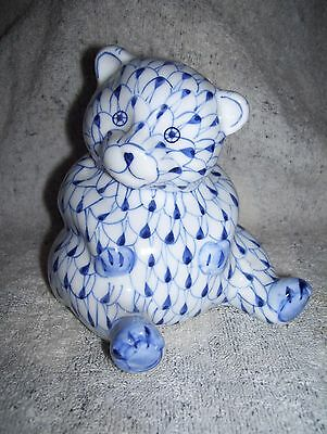 "Blue Teddy Bear Figurine Andrea by Sadek Hand Painted 5"" Feather Scale Design"