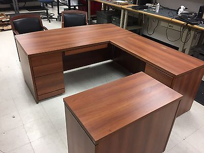 Executive Laminate L Shape Office Desk with 2 Chairs