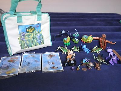 19 Disney Pixar- A Bug's Life Bendable Figures Lot: w/ Matching Bag & Stickers: