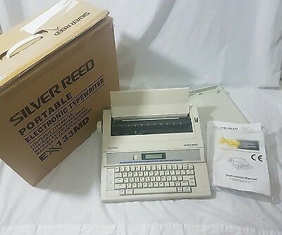 EX133MD Silver Reed Portable Electronic Typewriter BRAND NEW Vintage LCD Screen