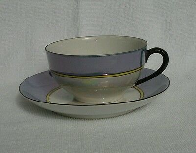 Vintage NORITAKE TEA CUP SAUCER TEACUP SET Blue irredescent condition Opalescent