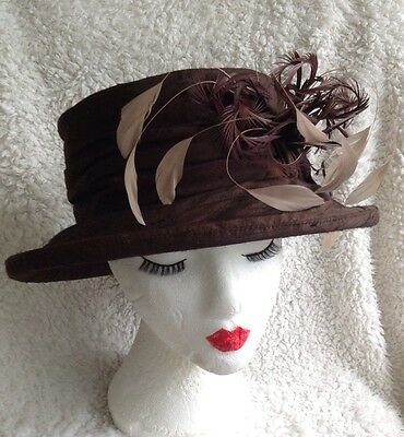 LADIES FORMAL HAT BY MAD HATTERS 100% Pure Silk With Feather Trim Ascot, Wedding