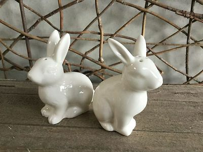 Gisela graham white ceramic bunny salt and pepper set/2