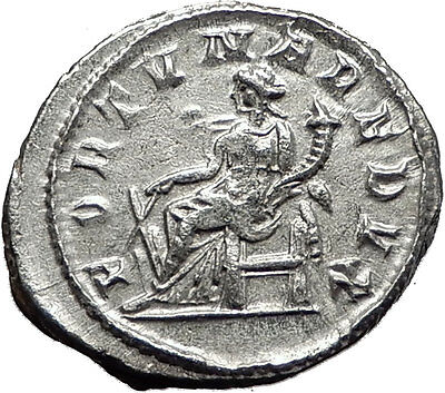GORDIAN III 243AD Authentic Original  Ancient Silver Roman Coin Fortuna i59027