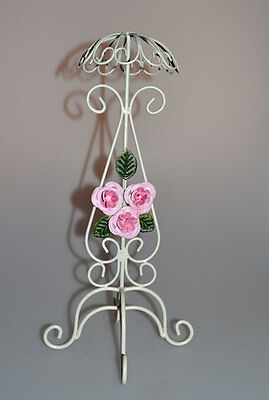 Hat Stand - White Wire with Pink Roses