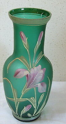 Raised Enamel Green Glass vase