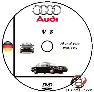 Manuale Officina Audi V8 My 1988 - 1994 Workshop Manual Service Dvd