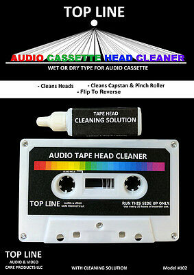 Top Line Audio Cassette Tape Head Cleaner w/Cleaning Solution #102, NEW SEALED