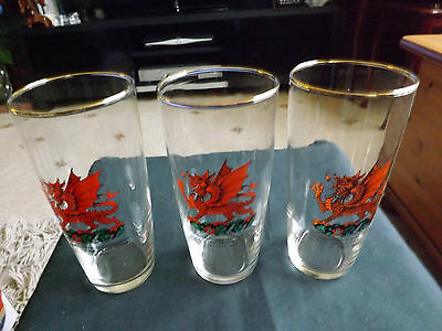 Set of Three 1969 Prince Charles Investiture Glass Tumblers, Welsh Dragon Motif