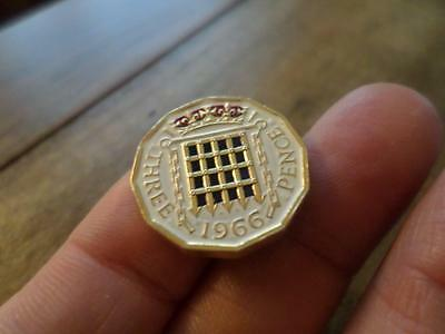 Vintage Hand Painted Three Pence Coin 1966. Lucky Charm. Birthday Present