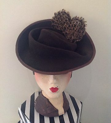 Vintage Style, 1940s Inspired Dk Brown  Coloured Sculptured Felt feathered Hat