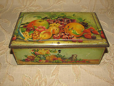 """Vintage Collectable Tin """" Fruits """" With Lock"""