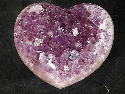 A Beautiful AMETHYST Crystal Cluster Carved HEART! From Uruguay 129gr e