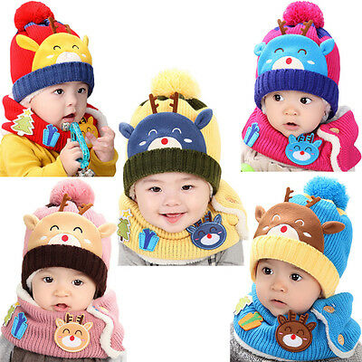 Christmas Baby Kids Boy Girl Elk Warm Knit Beanie Hat Pom Bobble Cap+Snood Scarf