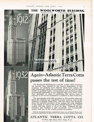 1932 Atlantic Terra Cotta Co. Woolworth Building Vtg Print Ad