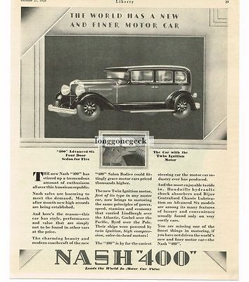 1928 Nash 400 4-door Sedan Automobile Car Vtg Print Ad