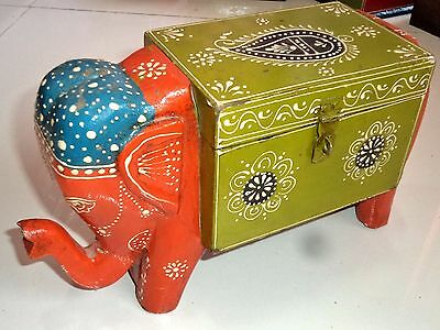 Wooden Handcrafted Painted Embossed Christmas Elephant Trunk Chest Box India