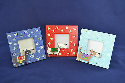 Scottie Dog Photo Frame Painted Wood Standing or Hanging Red or Blue