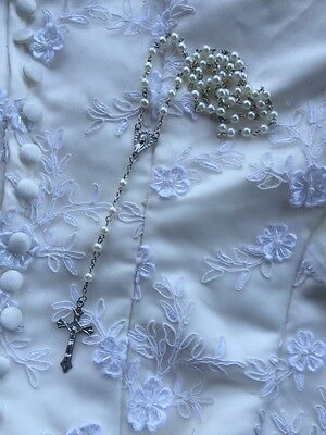 White Rosary Beads Necklace Communion Confirmation Girls Accessories