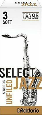 D'addario (Rico) Select Jazz Tenor Saxophone Reeds - 3 Soft Unfiled - Box Of 5