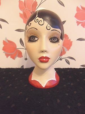 Flapper style hand painted mannequin head