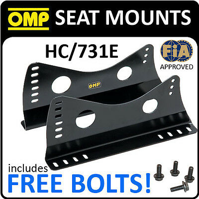 HC/731E OMP RACE SEAT MOUNT SIDE BRACKETS BLACK STEEL FIA APPROVED inc BOLTS!