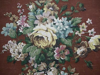 Lovely unused vintage linen union floral interiors fabric - 1M lengths