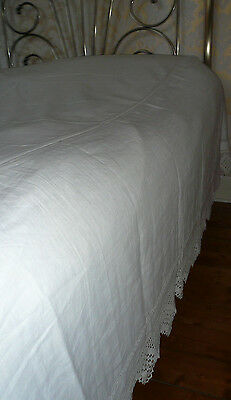 Beautiful Antique Linen Bed Cover/ Sheet With Lace Trimmed Valance