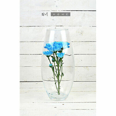 Large Clear Glass Vase Handmade Mouth Blown Flower Bunch Bouquet Tall 37 cm