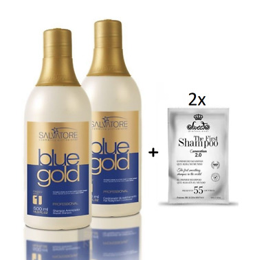 Blue Gold System Brazilian Progressive Brush Treatment Kit 2x 500ml - Salvatore