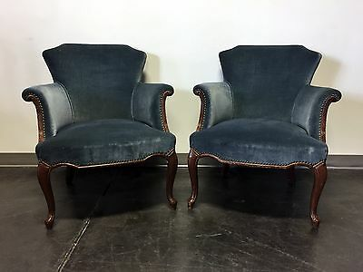 Vintage French Style Club Chairs with Blue Upholstery & Nailhead Trim - Pair
