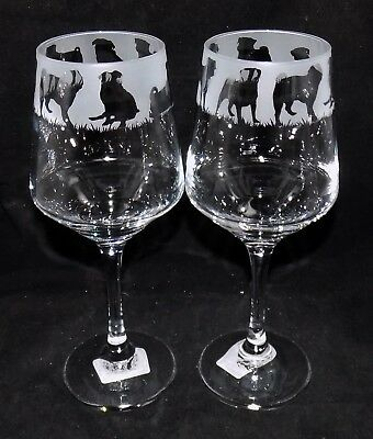 "New Etched ""PUG WINE GLASS(ES)"" - Optional Gift Box - Fantastic Gift Or To Keep"