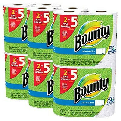 Bounty Select-a-Size Paper Towels, White, Huge Roll, 12 Count