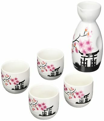OliaDesign 5 Piece Ceramic White and Red Blossom Japanese Sake Set White