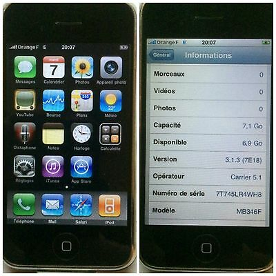 ★★★ 1ER IPHONE 2G 8Go APPLE 2007 CLLECTION AVEC CABLE USB CHARGEUR ★★★