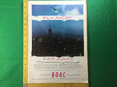 B.O.A.C. large format full page advert BOAC New York skyline poster size