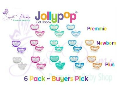 6 pack Jollypop ~ the new Gumdrop ~ Dummy Pacifier Soother Pick size and colour