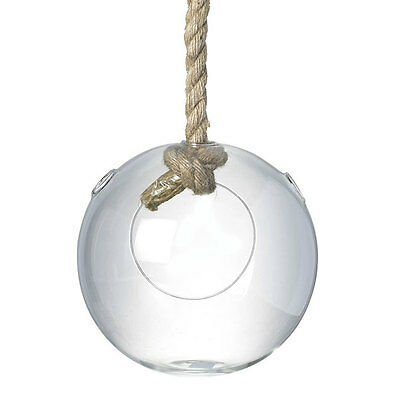 Hanging Glass Bubble Air Plant Rope Terrarium Container Vase Candleholder