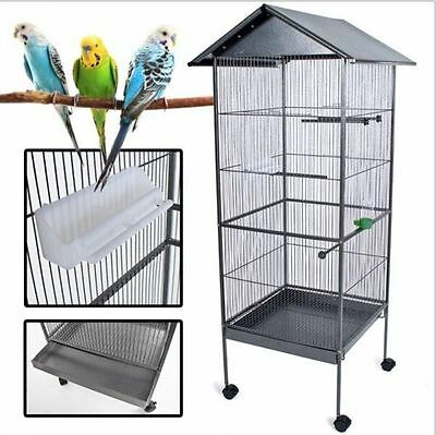 """61"""" Large Parrot Bird Cage Play Top Pet Supplies w/ Perch Stand Two Doors Iron"""