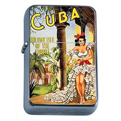 Vintage Poster D40 Windproof Dual Flame Torch Lighter Cuba Holiday Isle Tropics
